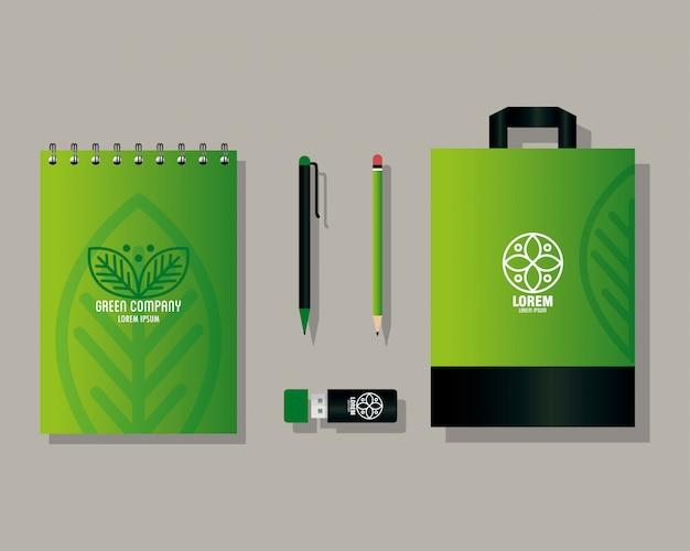 Maquette fournitures de papeterie, identité verte d'entreprise