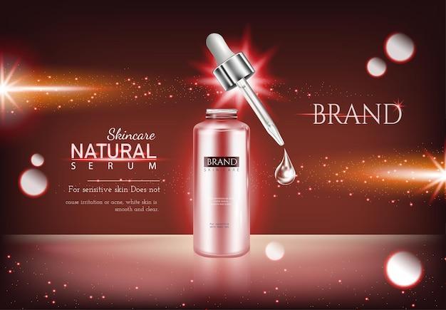 Maquette hydratante de soins de la peau élégante crème antirides annonces fond rouge