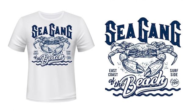 Maquette d'impression de t-shirt de crabe, vagues de club de surf