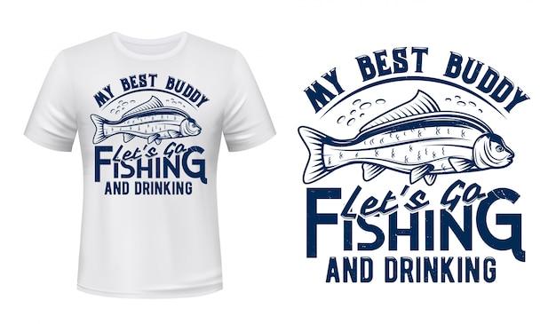 Maquette à imprimé poisson carpe, t-shirt club de pêche