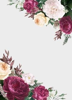 Maquette d'invitation de mariage de conception florale