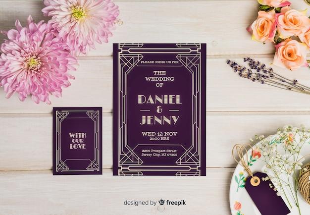 Maquette d'invitation de mariage élégant