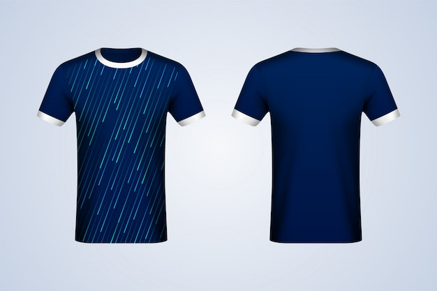 Maquette en jersey bleu abstrait devant et dos