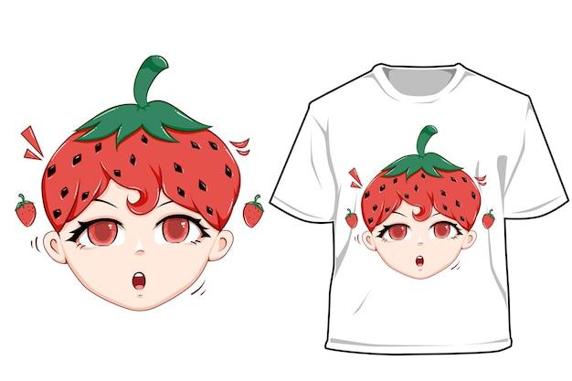 Maquette jolie fille aux fraises