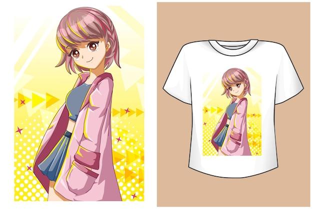 Maquette jolie fille cheveux roses avec veste