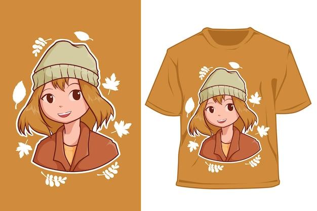 Maquette jolie fille en illustration de dessin animé automne