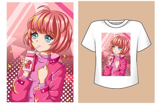 Maquette jolie fille rose heureuse