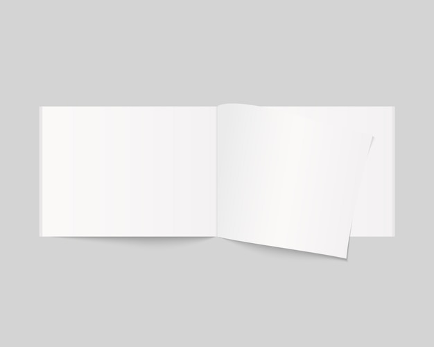 Maquette de livre ouvert vierge, magazine et cahier avec ombre douce