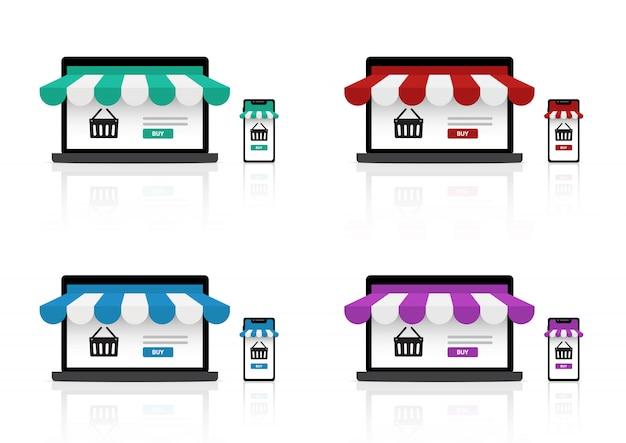 Maquette de magasinage en ligne réaliste