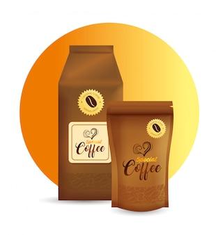Maquette de marque pour café, restaurant, maquette d'identité d'entreprise, sacs en papier et zip de café spécial
