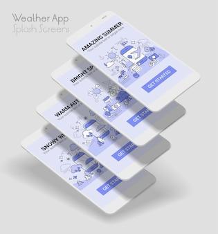 Maquette mobile de l'application illustration de la ligne météo splash application