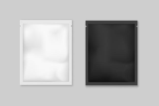 Maquette de modèle de sachet de thé noir et blanc et d'épices.