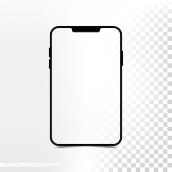 Maquette nouvelle version mini tablette avec écran transparent et fond