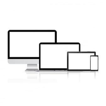 Maquette d'ordinateur, ordinateur portable, tablette et téléphone intelligent