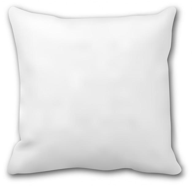 Maquette d'oreiller. coussin de lit carré blanc isolé