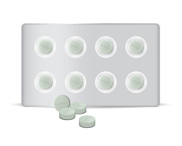 Maquette de panneau de médecine de pilules vertes de cercle réaliste