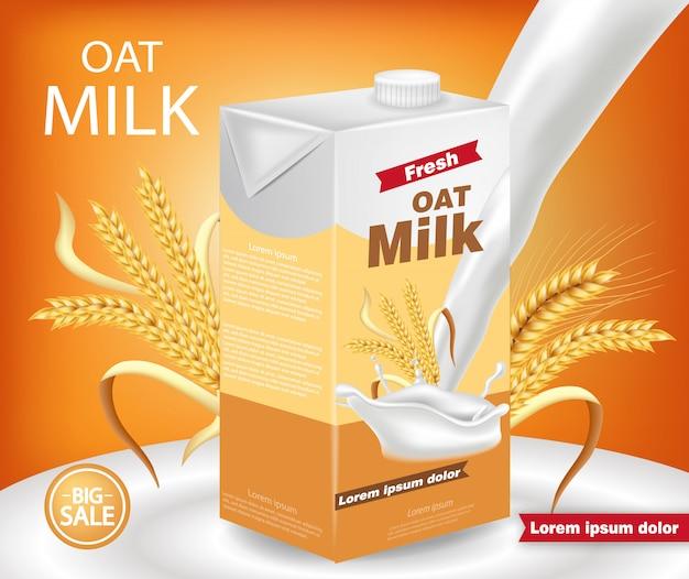 Maquette de paquet de lait d'avoine