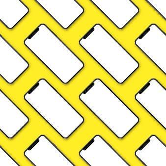 Maquette de présentation de l'interface utilisateur de smartphones de nombreux smartphones sur fond jaune