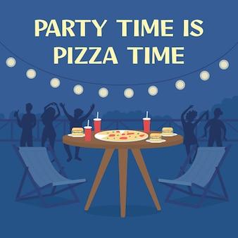 Maquette de publication sur les réseaux sociaux de livraison de pizza