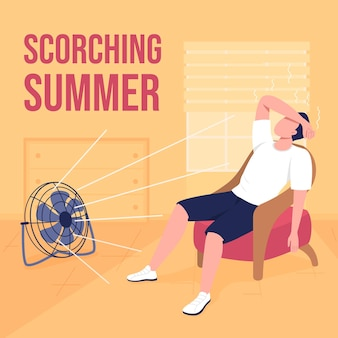 Maquette de publication sur les réseaux sociaux par temps chaud