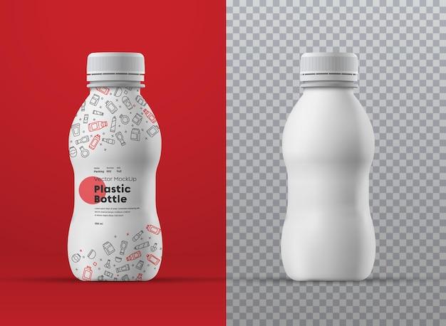 Maquette réaliste de bouteille bouclée en plastique blanc pour les boissons. universel pour différents volumes m millilitres. modèle pour la présentation de la conception de l'emballage et des étiquettes