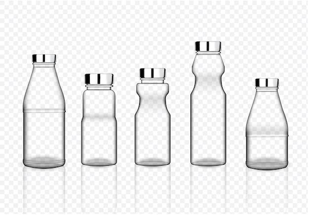 Maquette réaliste bouteille d'emballage en plastique transparent
