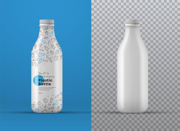 Maquette réaliste de bouteille en plastique blanche avec étiquette. gabarit universel pour différents volumes en millilitres sur fonds transparents et colorés.