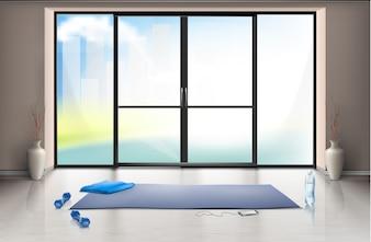 Maquette réaliste de la salle de sport vide pour les entraînements de fitness avec tapis de yoga bleu et haltères