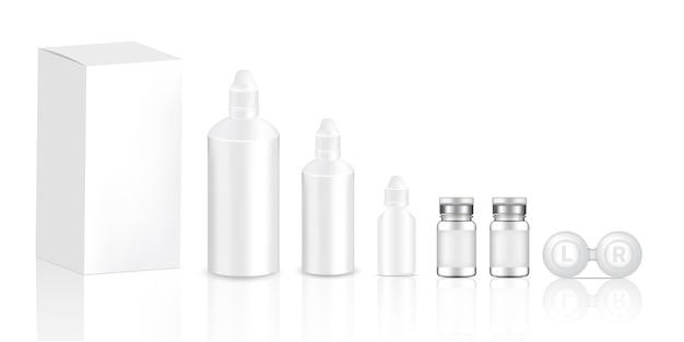 Maquette réaliste lentilles de contact transparentes bouteilles produit