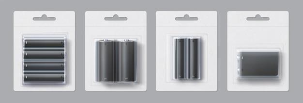 Maquette réaliste de paquet vierge de batterie en métal alcalin. tailles d'accumulateurs électriques jetables dans un ensemble de modèles vectoriels en papier et en plastique