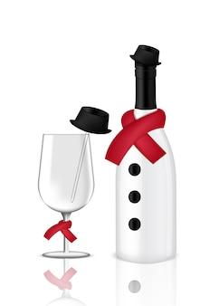 Maquette réaliste vin ou bouteille de champagne
