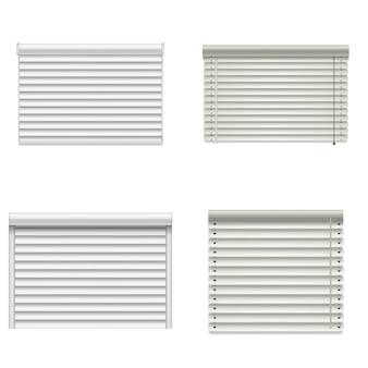 Maquette de rideaux de fenêtre aveugle. illustration réaliste de 4 maquettes de rideaux de fenêtres aveugles pour le web