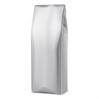 Maquette de sac à café, emballage en aluminium blanc, pochette 3d