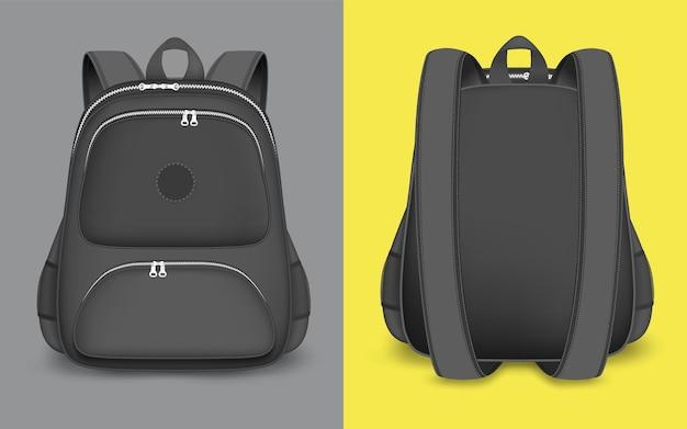Maquette de sac à dos set vector illustration isolé sac à dos sac d'école noir réaliste avec fermeture éclair han ...