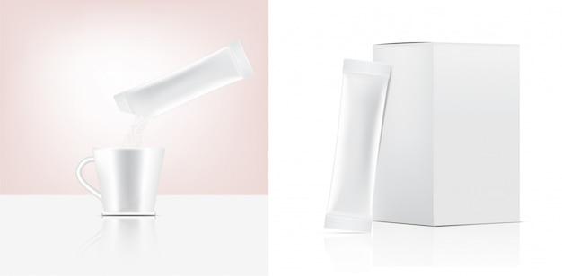 Maquette de sachet de bâton brillant 3d et verser la poudre dans une tasse d'eau avec une boîte en papier isolée. illustration. conception de concept d'emballage alimentaire et des boissons.