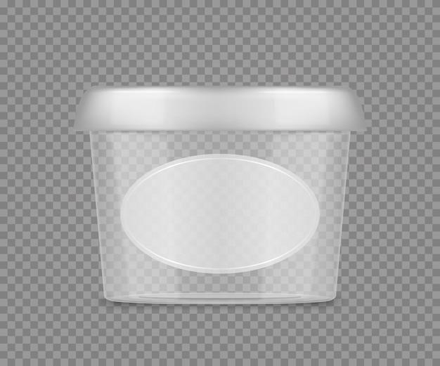 Maquette de seau transparent en plastique vide avec étiquette