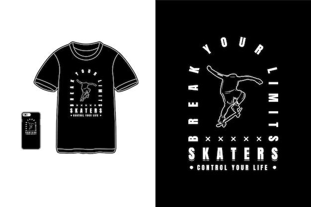 Maquette de silhouette de marchandise de tshirt de patineurs