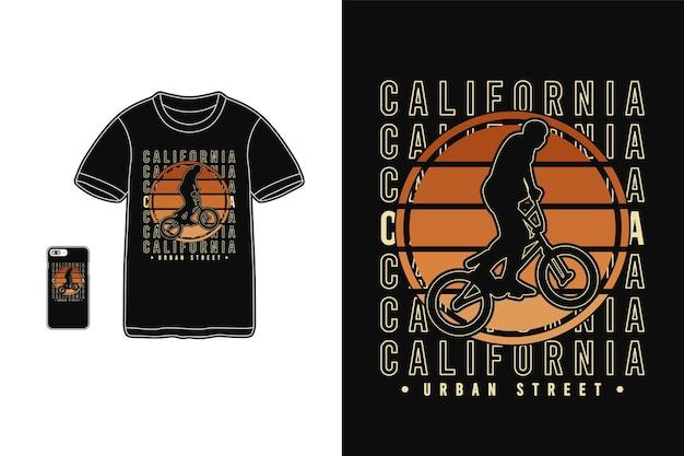 Maquette de silhouette de marchandise de tshirt de rue urbaine de californie