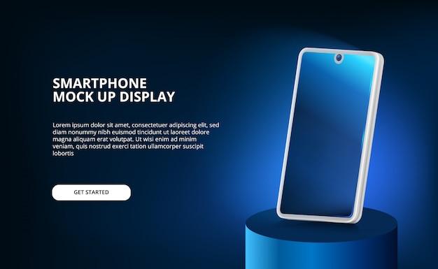 Maquette de smartphone 3d à écran élégant et moderne avec lumière lueur