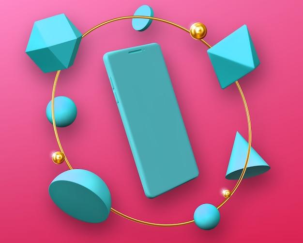 Maquette de smartphone dans un cadre rond de formes 3d géométriques