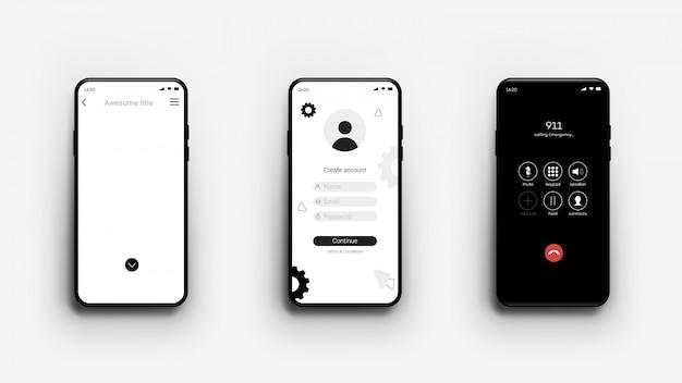 Maquette de smartphone, différents écrans, vide, connexion, appel, modèle pour la vitrine de l'application mobile.