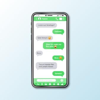 Maquette avec smartphone avec fenêtre de messagerie pour les médias sociaux