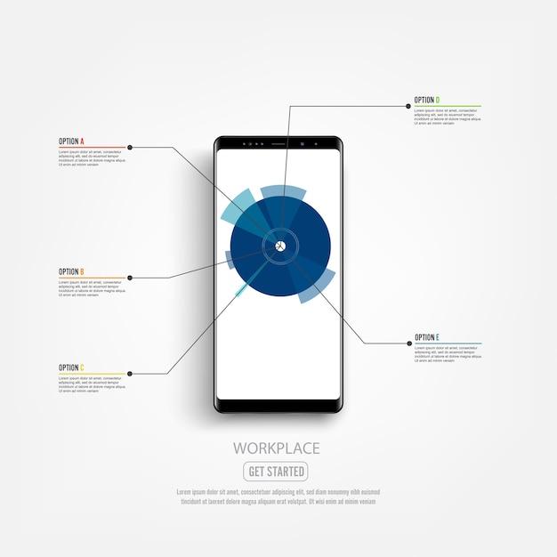 Maquette de smartphone noir avec écran infographique