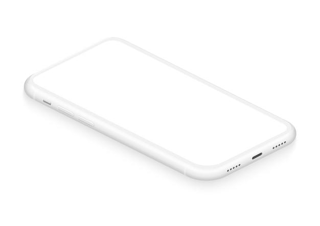 Maquette de smartphone sans cadre blanc isométrique réaliste pour application commerciale d'interface utilisateur visuelle infographique