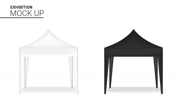 Maquette de stand réaliste de stand d'affichage de tente de vente au détail pour l'exposition de promotion de vente de vente.