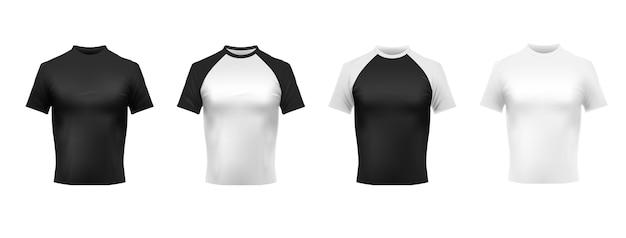 Maquette de t-shirt noir et blanc