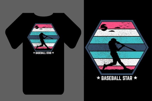 Maquette t-shirt silhouette baseball star rétro vintage