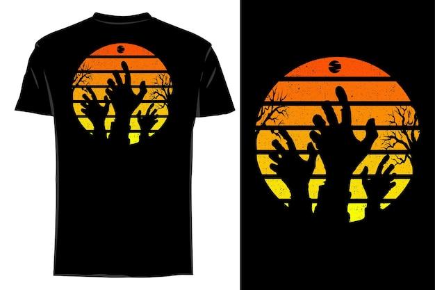 Maquette t-shirt silhouette cauchemar zombie main rétro vintage