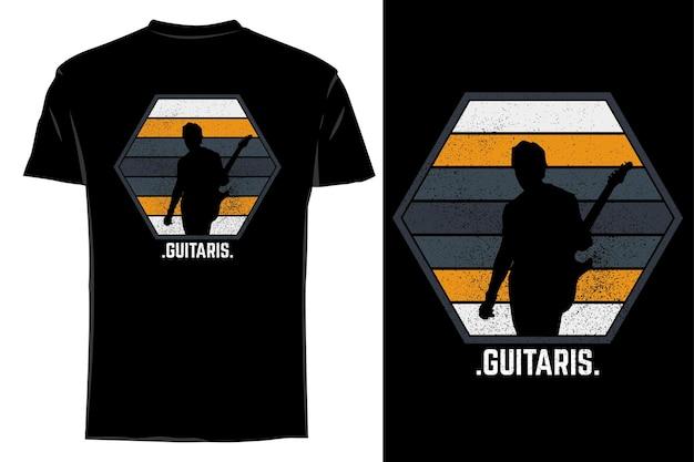 Maquette t-shirt silhouette guitariste rétro vintage