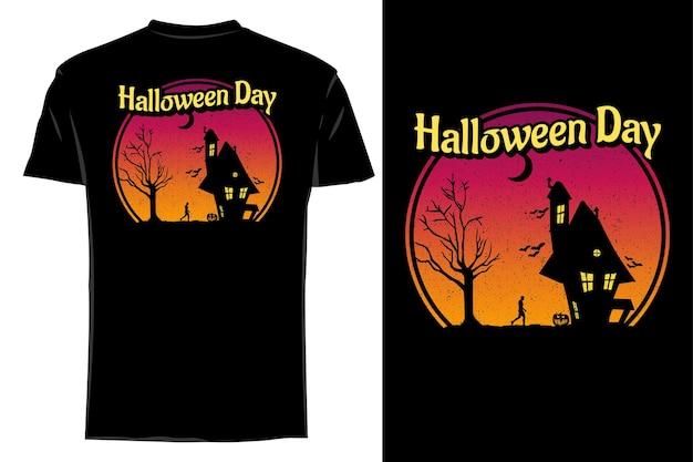 Maquette t-shirt silhouette halloween jour rétro vintage